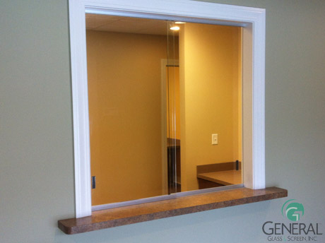 Decorating sliding glass reception window : Receptionist Windows